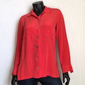CHICO'S DESIGN 100% SILK LONG SLEEVE BLOUSE SIZE 0